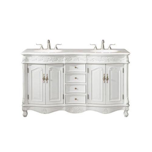Windsor White 60-Inch Vanity Sink Set