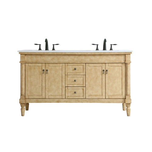 Lexington Antique Beige 60-Inch Vanity Sink Set