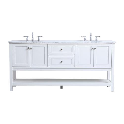 Metropolis White 72-Inch Vanity Sink Set