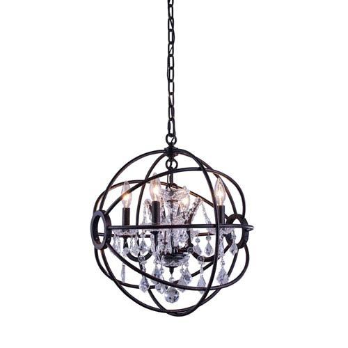 Elegant Lighting Geneva Dark Bronze Seventeen-Inch Pendant with Clear Crystals