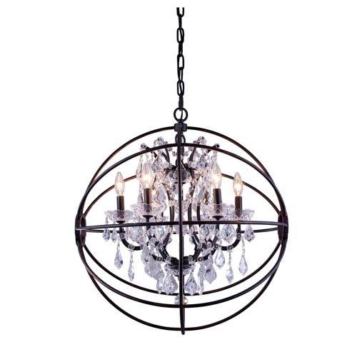 Elegant Lighting Geneva Dark Bronze Twenty-Five-Inch Pendant with Clear Crystals
