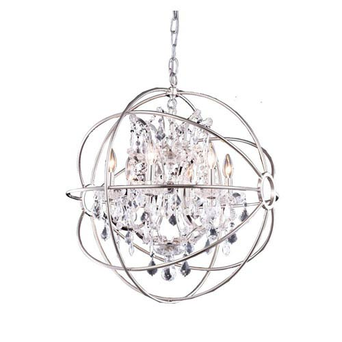 Polished Nickel Six-Light 25-Inch Pendant with Clear Crystals