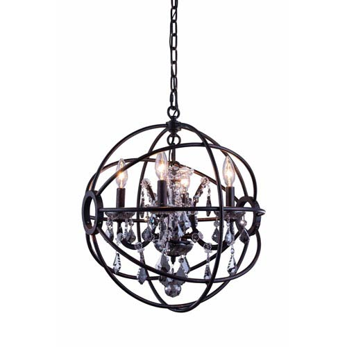 Elegant Lighting Geneva Dark Bronze Seventeen-Inch Pendant with Silver Shade Crystals