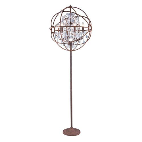 Geneva Rustic Intent Twenty-Four-Inch Floor Lamp with Clear Crystals