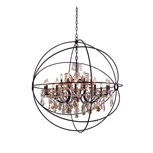 Elegant Lighting Geneva Dark Bronze Forty-Three-Inch Pendant with Golden Teak Crystals