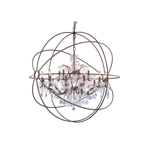 Rustic 18-Light 43-Inch Pendant with Clear Crystals