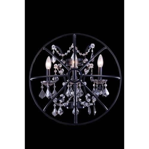 Elegant Lighting Geneva Dark Bronze Twenty-One-Inch Wall Sconce with Silver Shade Crystals
