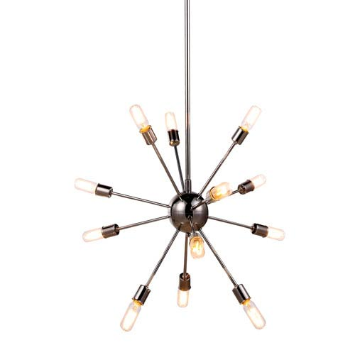 Cork Polished Nickel 30-Inch 12-Light Pendant
