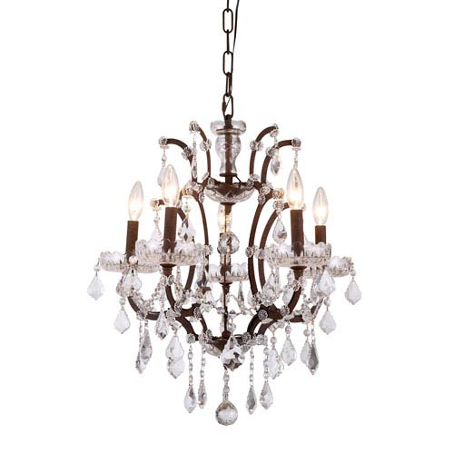 Elena Rustic Intent Five-Light Mini Chandelier with Clear Crystals