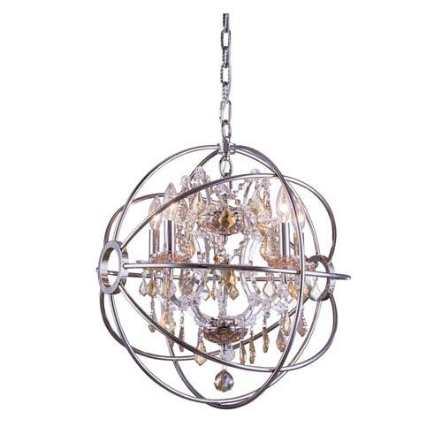 Elegant Lighting Geneva Polished Nickel Twenty-Inch Pendant with Golden Teak Crystals