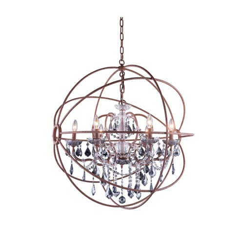 Elegant Lighting Geneva Rustic Intent Thirty-Two-Inch Pendant with Silver Shade Crystals