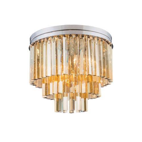 Elegant Lighting Sydney Polished Nickel Nine-Light Flushmount with Royal Cut Golden Teak Crystals