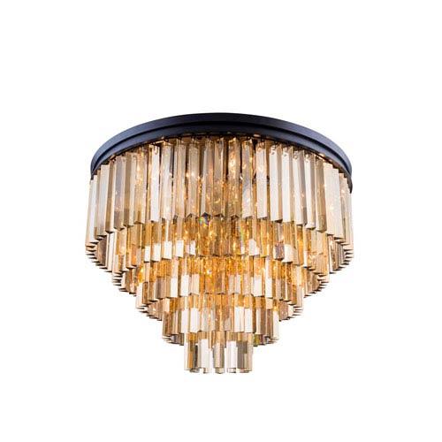Elegant Lighting Sydney Mocha Brown Seventeen-Light Flushmount with Royal Cut Golden Teak Crystals