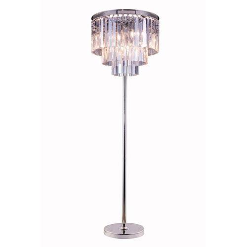 Elegant Lighting Sydney Polished Nickel Eight-Light Floor Lamp with Royal Cut Clear Crystals