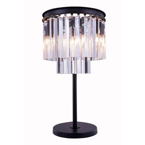 Sydney Mocha Brown Three-Light Table Lamp with Royal Cut Clear Crystals