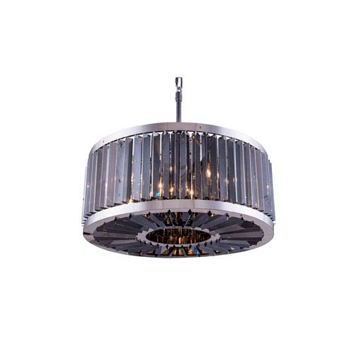 Elegant Lighting Chelsea Polished Nickel Twenty-Eight-Inch Pendant with Silver Shade Crystals