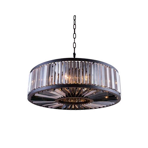 Elegant Lighting Chelsea Mocha Brown Forty-Three-Inch Pendant with Silver Shade Crystals