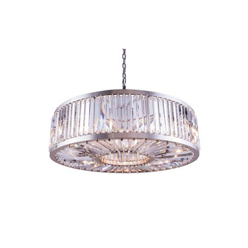 Elegant Lighting Chelsea Polished Nickel Forty-Three-Inch Pendant with Clear Crystals