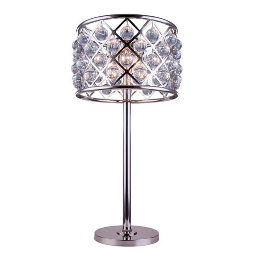 Madison Polished Nickel Three-Light Table Lamp with Royal Cut Clear Crystals