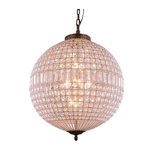 Elegant Lighting Olivia French Gold Five-Light Pendant with Royal Cut Clear Crystals