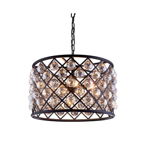 Elegant Lighting Madison Mocha Brown Six-Light Pendant with Royal Cut Golden Teak Crystals