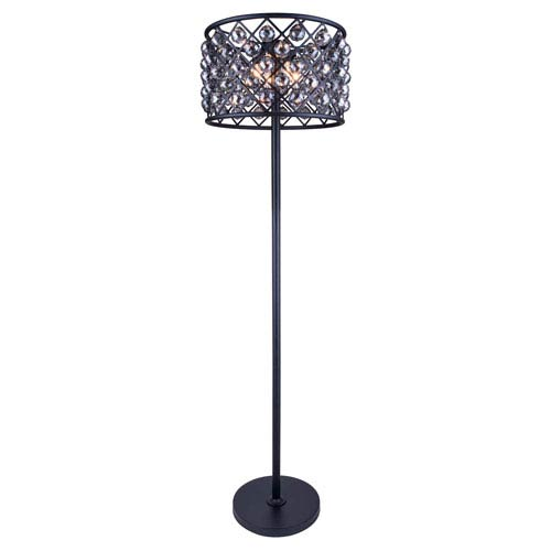 Elegant Lighting Madison Mocha Brown Four-Light Floor Lamp with Royal Cut Silver Shade Crystals