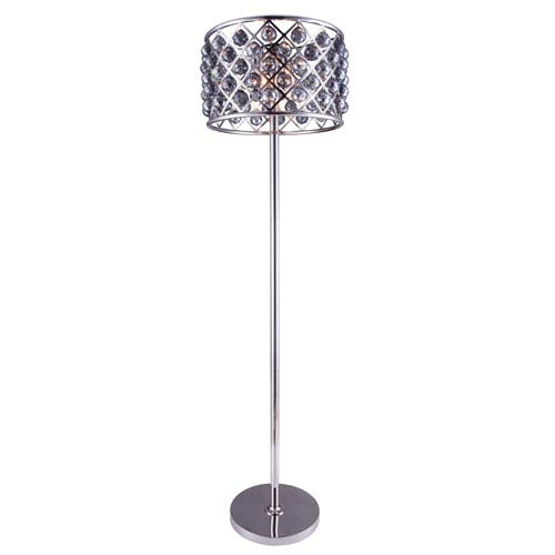 Madison Polished Nickel Four-Light Floor Lamp with Royal Cut Silver Shade Crystals