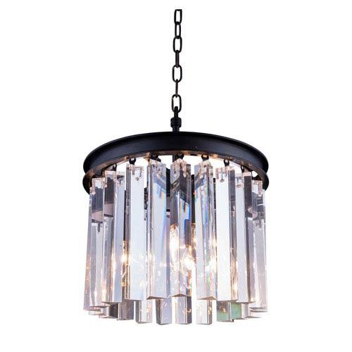 Elegant Lighting Sydney Mocha Brown Thirteen-Inch Pendant with Royal Cut Clear Crystals