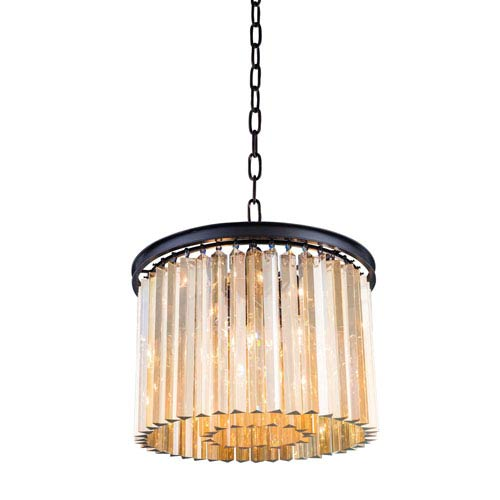 Elegant Lighting Sydney Mocha Brown Six-Light Pendant with Royal Cut Golden Teak Crystals