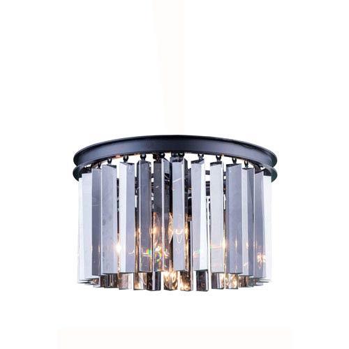 Elegant Lighting Sydney Mocha Brown Ten-Inch Flushmount with Royal Cut Silver Shade Crystals