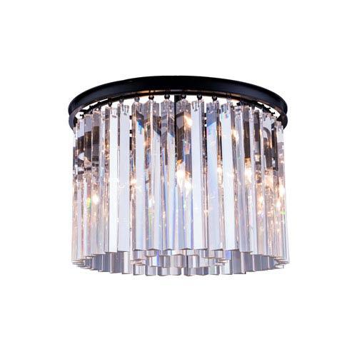Elegant Lighting Sydney Mocha Brown Six-Light Flushmount with Royal Cut Clear Crystals