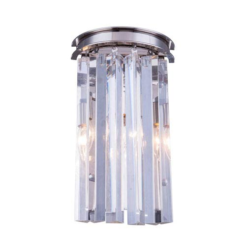 Elegant Lighting Sydney Polished Nickel Two-Light Wall Sconce with Royal Cut Clear Crystals