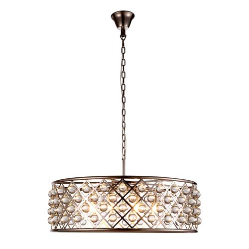 Madison Polished Nickel Eight-Light Pendant with Smooth Clear Crystals