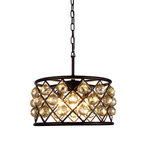 Madison Mocha Brown Four-Light Pendant with Faceted Golden Teak Crystals