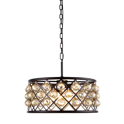Madison Mocha Brown Five-Light Pendant with Faceted Golden Teak Crystals