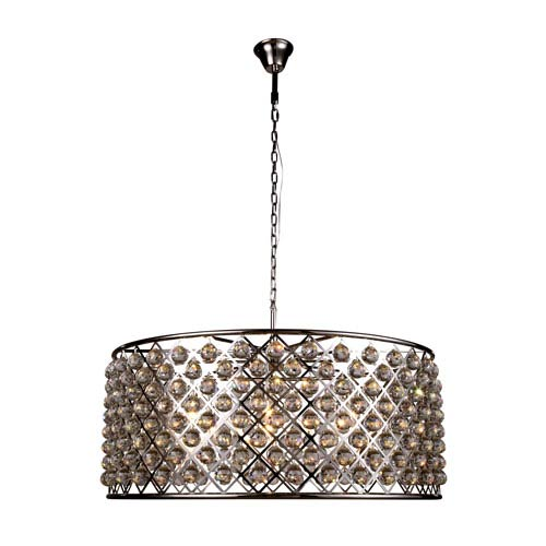Madison Polished Nickel 10-Light Pendant with Faceted Clear Crystals