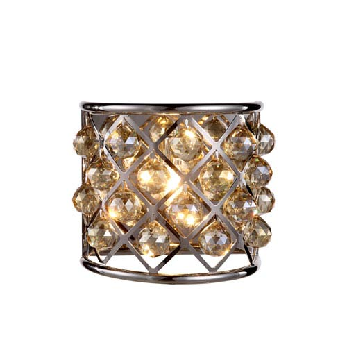 Madison Polished Nickel One-Light Wall Sconce with Faceted Golden Teak Crystals