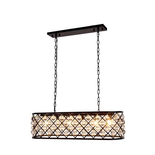 Madison Mocha Brown 10-Inch High Six-Light Pendant with Smooth Clear Crystals