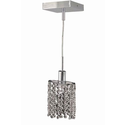 Mini Ellipse Chrome Mini Pendant with Royal Cut Clear Crystal and Square Canopy