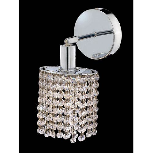 Elegant Lighting Mini Round Chrome One-Light Bath Fixture with Royal Cut Clear Crystal and Round Canopy