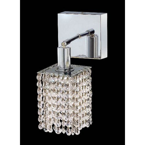 Elegant Lighting Mini Square Chrome One-Light Bath Fixture with Royal Cut Clear Crystal and Square Canopy