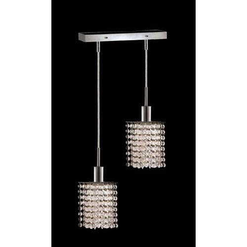 Mini Star Chrome Two-Light Mini Pendant with Royal Cut Clear Crystal and Oblong Canopy