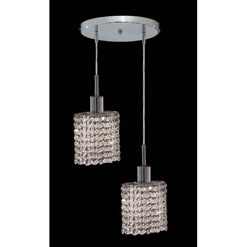 Mini Ellipse Chrome Two-Light Mini Pendant with Royal Cut Clear Crystal and Round Canopy
