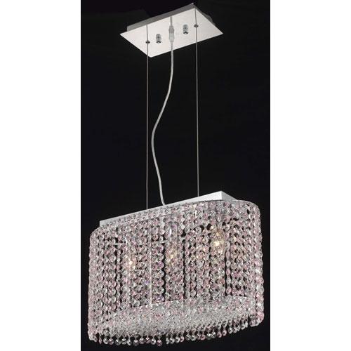Moda Oval Chrome Three-Light 18-Inch Pendant with Royal Cut Clear Crystal