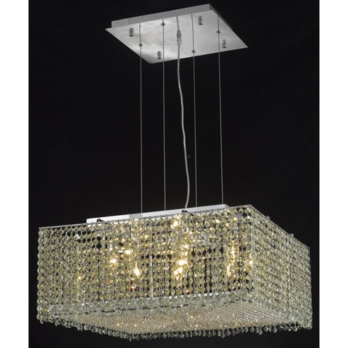Moda Square Chrome Nine-Light 22-Inch Pendant with Elegant Cut Clear Crystal