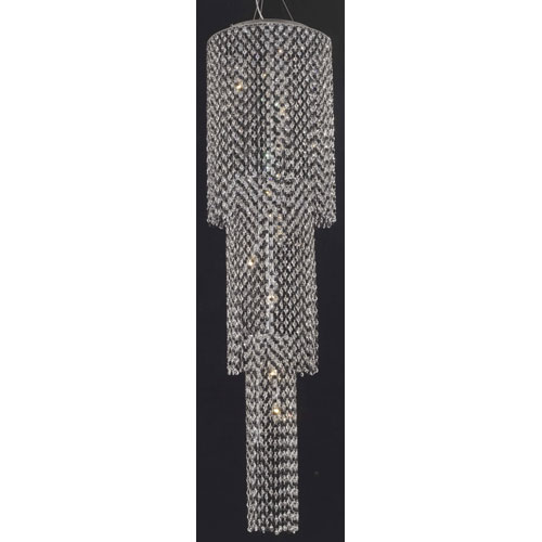 Moda Chrome Three-Tier Nine-Light 63-Inch Chandelier with Royal Cut Clear Crystal