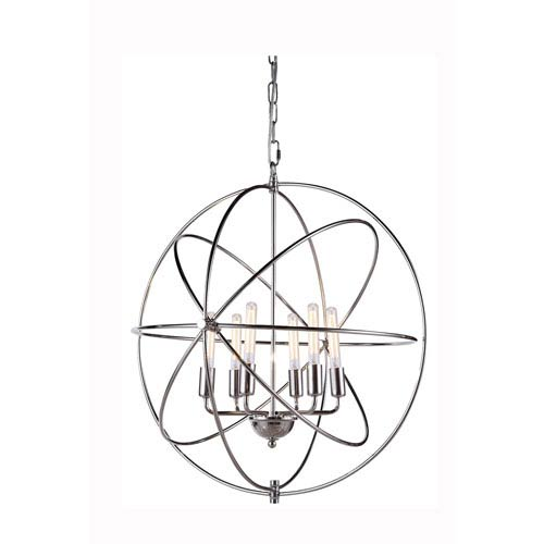 Elegant Lighting Vienna Polished Nickel Six-Light Pendant