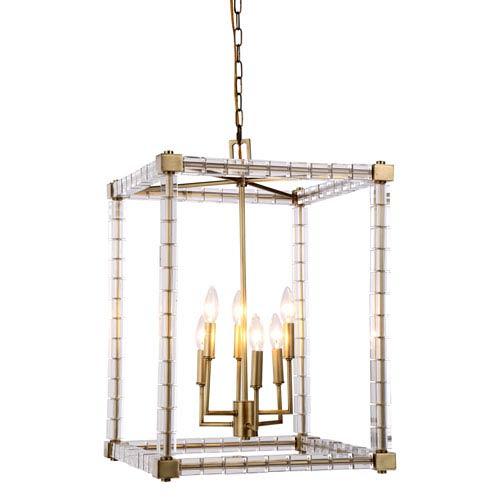 Cristal Burnished Brass 18-Inch Six-Light Pendant