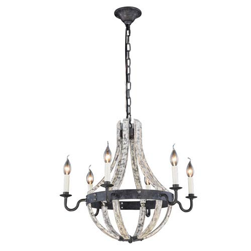 Woodland Ivory Wash and Steel Grey 24-Inch Six-Light Chandelier