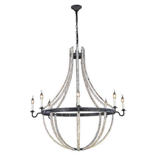 Woodland Ivory Wash and Steel Grey Eight-Light Chandelier